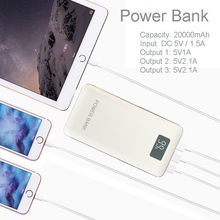 Recommend 20000mAh LCD Power Bank with LED light 3USB outputs External charger powerbank for mobile phone, USB divices