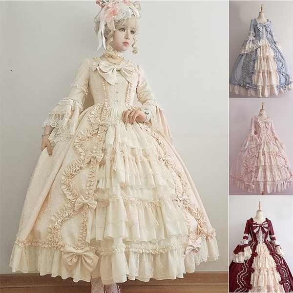 4 Colors Long Sleeve Classic Lolita Dress Sweet Cute Ruffle Dress Girls Anime Cosplay Costume Plus Size