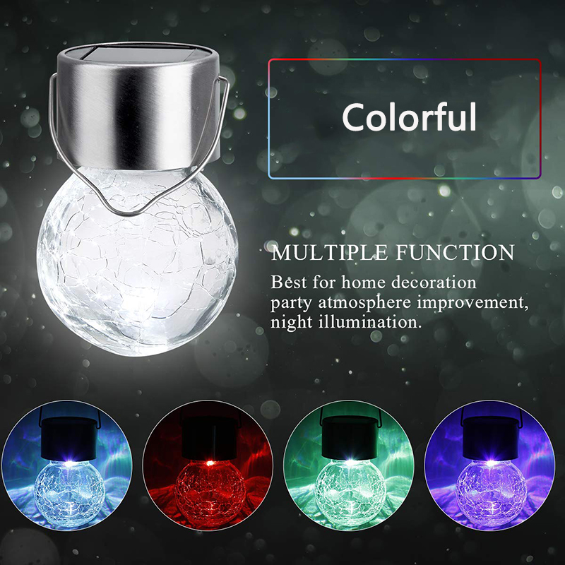 Hanging Solar Light LED Crackle Glass Globe Outdoor Solar Garden Light Waterproof Lantern For Yard Patio Christmas Party Decor in Solar Lamps from Lights Lighting