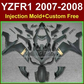 100% Injection for YAMAHA YZFR1 2007 2008 R1 black silver fairing set YZF R1 YZF1000 YZF 1000 07 08 simple fairings kits