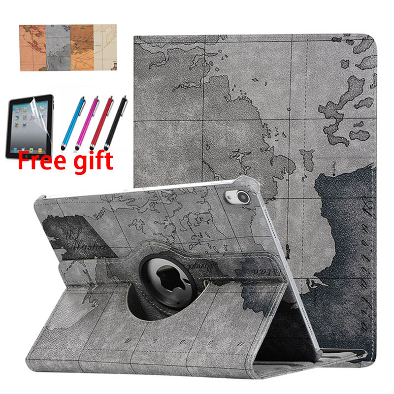 new Map Pattern Horizontal Flip Leather Case for iPad Pro 11 inch 2018, with 360