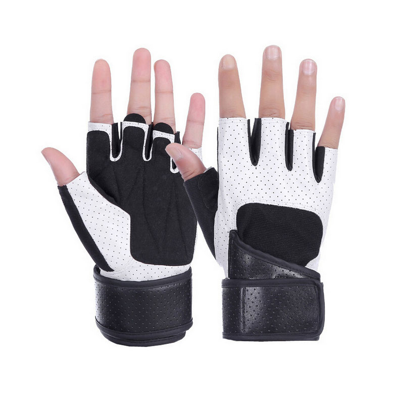 Leather Weightlifting Gloves Half Finger Training Gloves wrist support Breathable Gym Dumbbell Sport Fitness Gloves