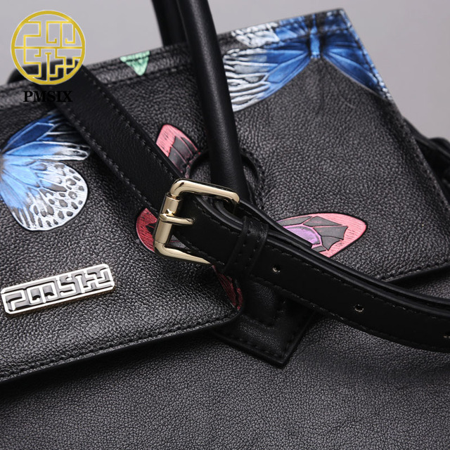 PMSIX Genuine Leather Luxury Women Handbags Embossed Butterfly Tassel Real Leather Tote Bag Retro Black Shoulder Bag P110011