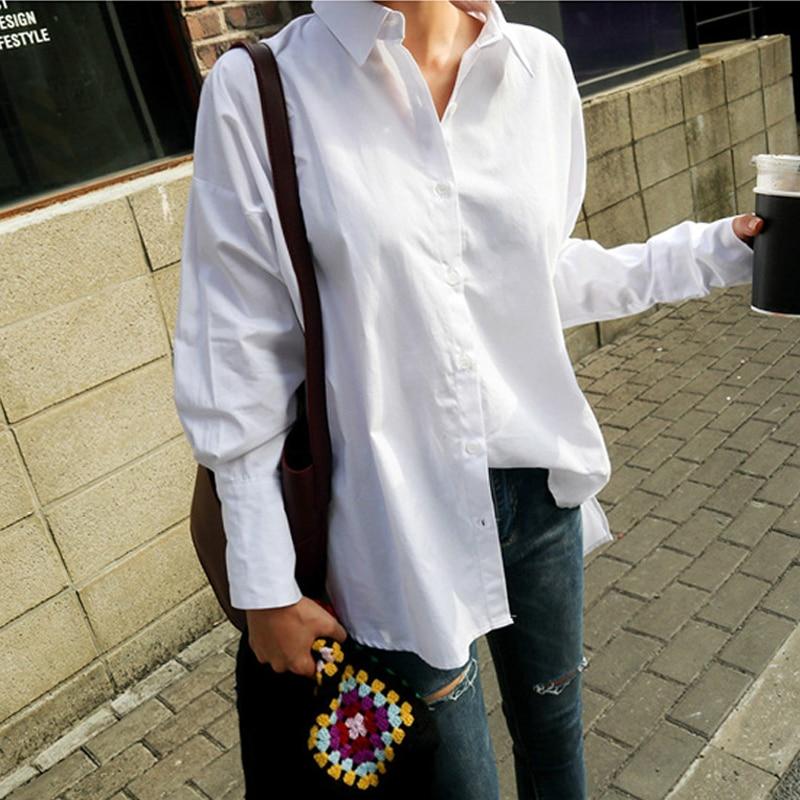BGTEEVER Women Ruffles Hem Turn-down Collar White Shirts Cuff Loose Blouses Female Shirt Casual Tops Blusas 2019