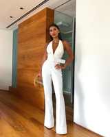 Summer women's new 2019 white women's jumpsuit straps jumpsuit comfortable fabric temperament elegant fashion V-neck jumpsuit Hh