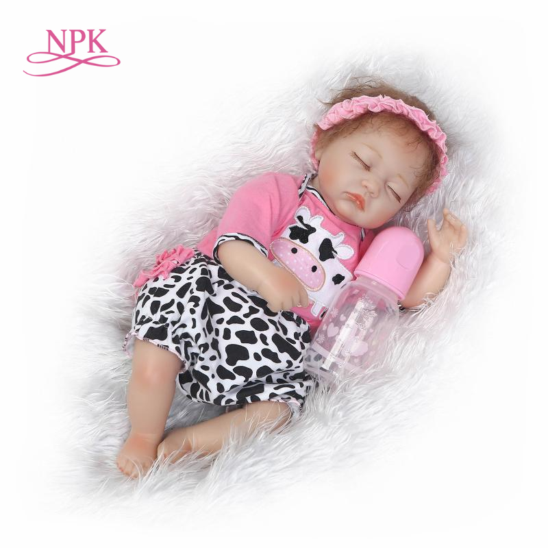 NPK 42cm real full silicone reborn dolls newborn baby girl dolls for children gift bebe alive reborn bonecas brinquedos цена