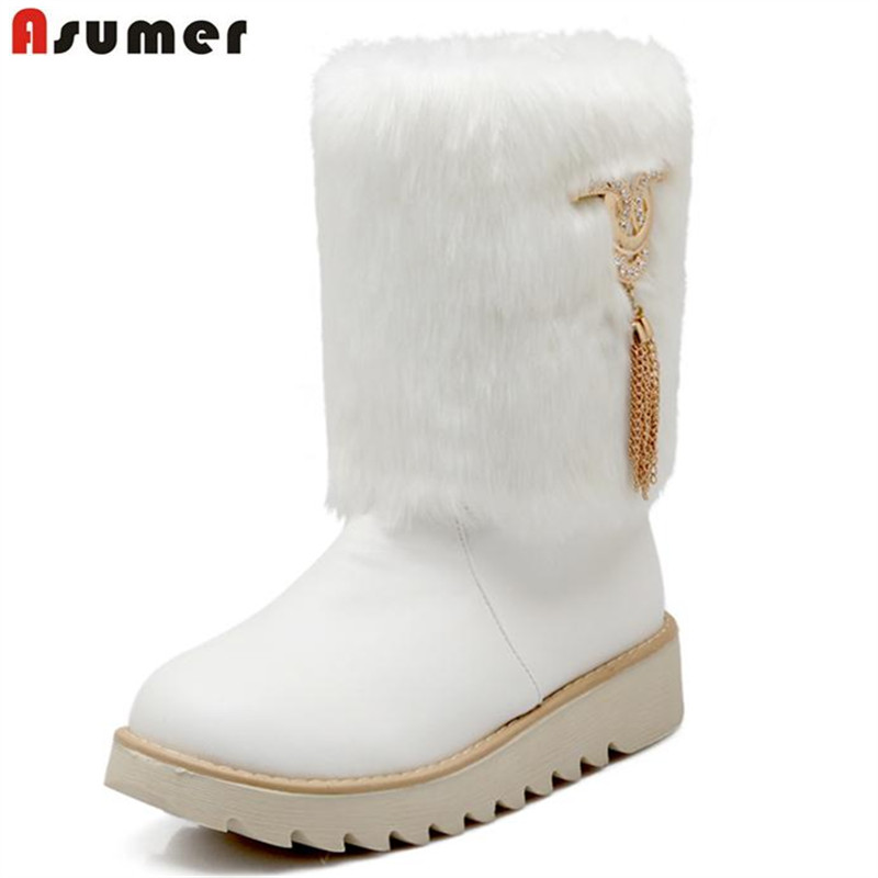 ASUMER 2018 Winter boots women flat with snow boots solid warm platform shoes mid calf boots diamond sweet beautiful party sweet women s mid calf boots with buckles and zip design