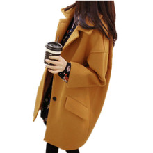 2016 Spring Autumn Winter Women Solid Cuasual Overcoat Imitated Cashmere Woolen Outerwear Thicken Loose Long Students Coat C234