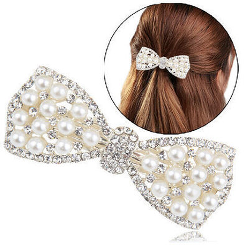 USA SELLER Bobby Pin Rhinestone Crystal Hair Clip Hairpin Fashion Heart Pink H08