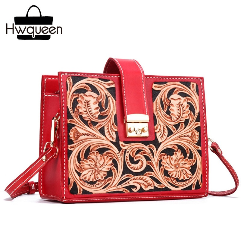 Chinese Vintage Red Purse Genuine Leather Women Small Engraved Flower Messenger Bag Hand Stitched Female Crossbody Shoulder Bag