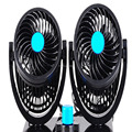 2015  New  12V Cars 360 Degree Rotating 2 Speed Strong Wind Mini Fan Black Auto Cool Fan Fan Adjustable Silent Cooler Speed