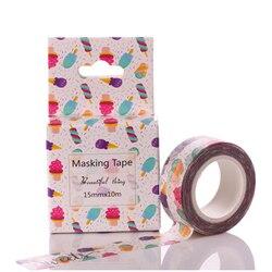 Fita colorida do washi do gelado diy que mascara a fita de papel fita decorativa da etiqueta material de escritório escolar papelaria 15mm * 10m