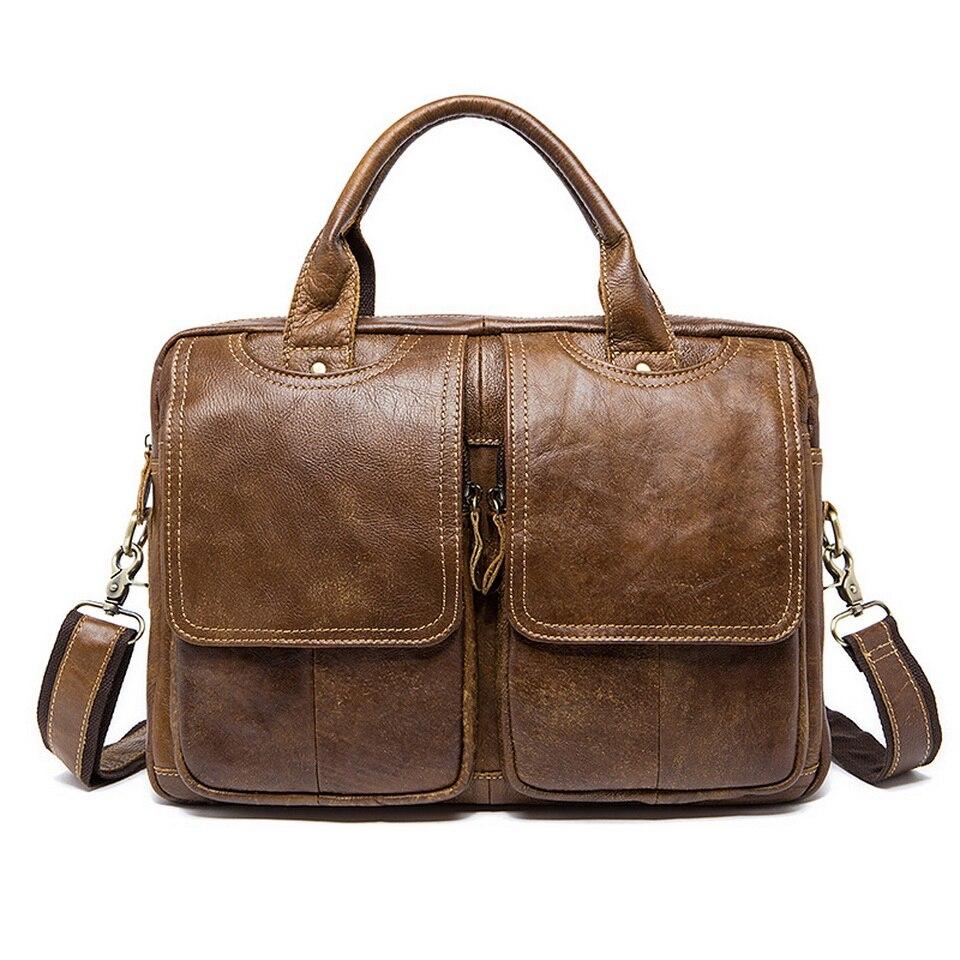 Fashion Vintage Men's Genuine leather Briefcases  portfolio bags Men executive briefcase leather laptop bag For document цена и фото