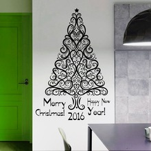 Removable Merry Christmas Wall Sticker Art Design Holiday Tree Mural Home Room Decor WallpaperY-765