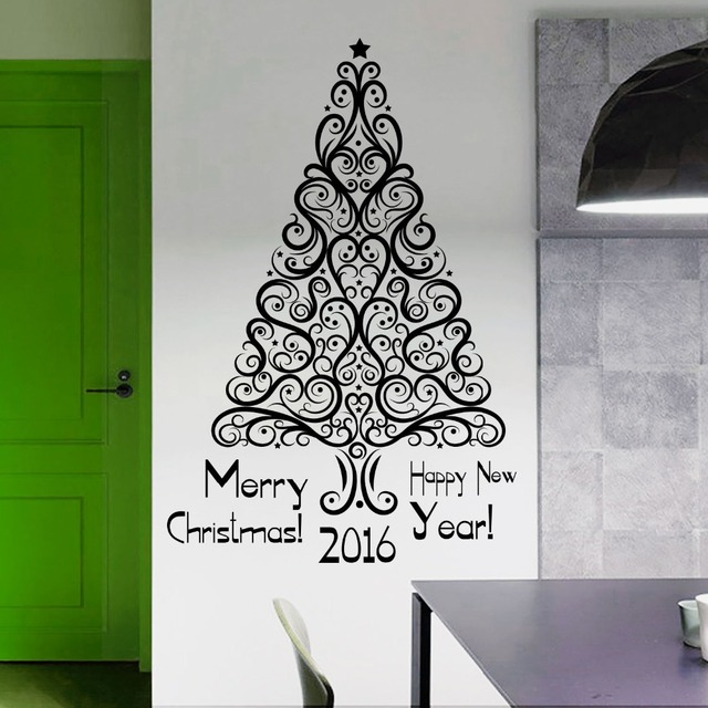 Removable Merry Christmas Wall Sticker Art Design Christmas Holiday Tree  Wall Mural Home Room Art Christmas
