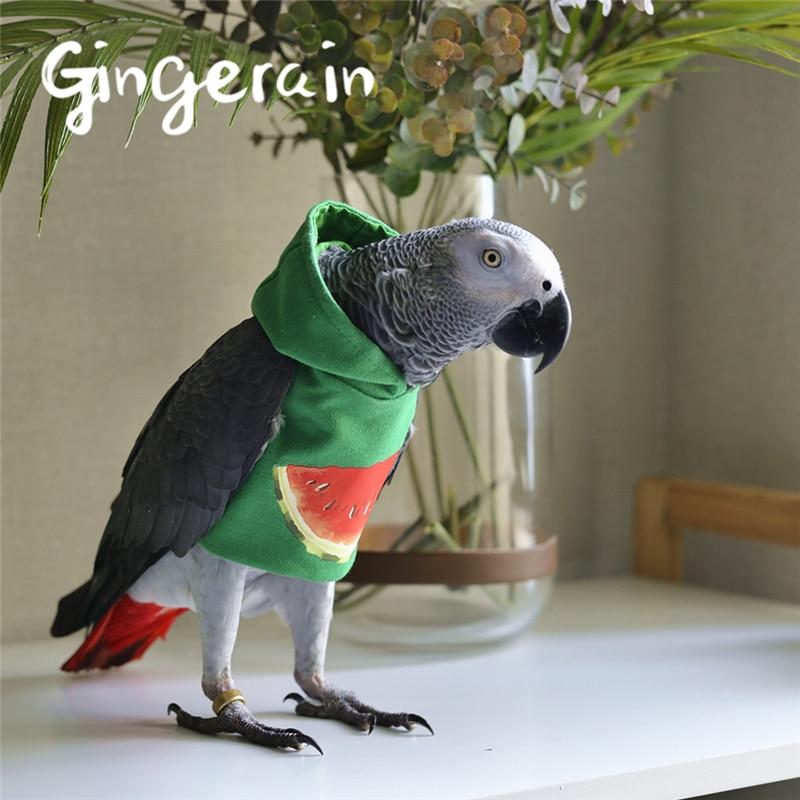 Gingerain Bird Clothes Parrot Clothes Watermelon Original Hand-made Custom Bird Clothes HoodedSweater Watermelon