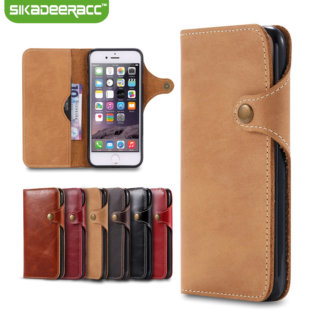 Luxury PU Leather Wallet Card Slot Bags Phone Covers For iPhone 6s 7 Plus Cellphones Shockproof Back Cases Shell Housing DE30