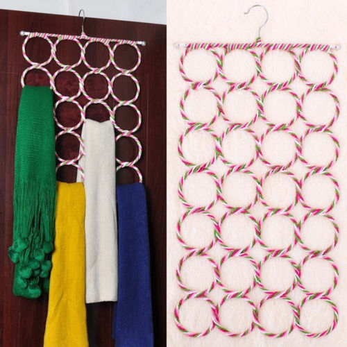 Hot Fashion Scarf Hanger Cerchio Storage New Ties Cintura Display Holder 28 buche sciarpe Holder Home Organizer Closet Rack di stoccaggio
