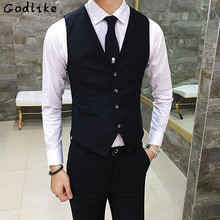 GODLIKE Autumn Classic Men Suit Vest Wedding Groomsmen Waistcoat Formal Business Profession Clothes Dress Slim Casual Vest Male