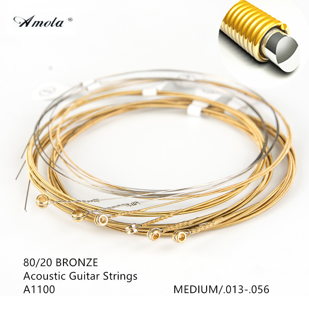 Amola Guitar Strings Acoustic A1100  013-056 Cordas Violao 80 20 Bronze with Coating Musical Instrument 1 Sets 3 sets alice aw466 light acoustic guitar strings plated high carbon steel