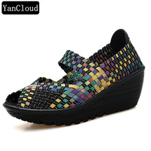 Mix Color Open Toe Hand Knit Woven Beach Wedges Обувь для женщин Summer 2018 Breathable Mary Jane Платформа для ходьбы