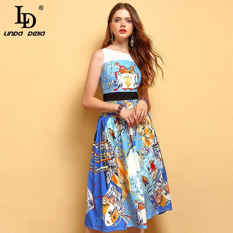 LD LINDA DELLA Fashion Designer Summer Dress Women s Sleeveless Character Print High Waist Elegant Casual