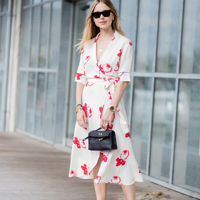 Harley Crepe Wrap Dress in white Allover floral print Deep-V neckline dress  with shawl collar Vanilla Ice Womens Dresses