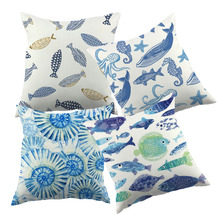 Sea Blue Animal Design Printed Cushion Cover For Sofa Whale Pattern Simple Design Decorative Throw Pillow Case
