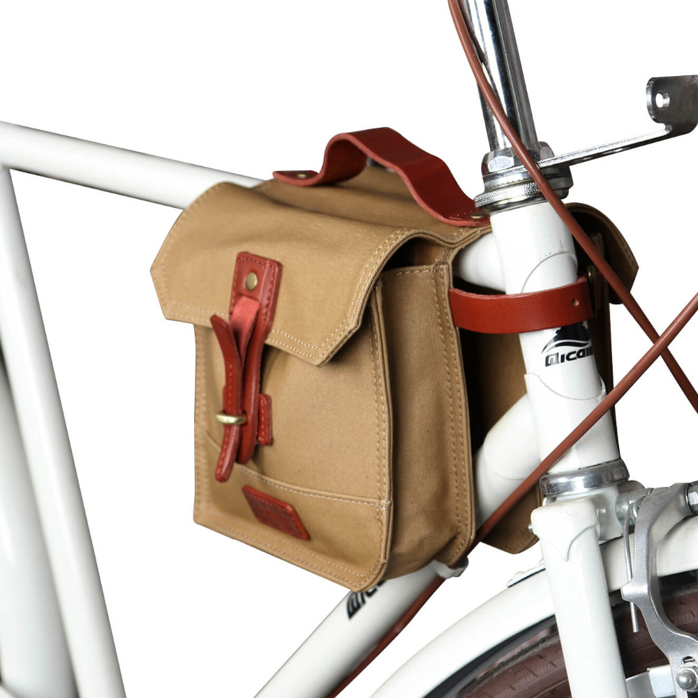 Tourbon Vintage Canvas Bicycle Top Tube Bags Bike Frame Bag Cycling Pannier Two Pouches Multi function