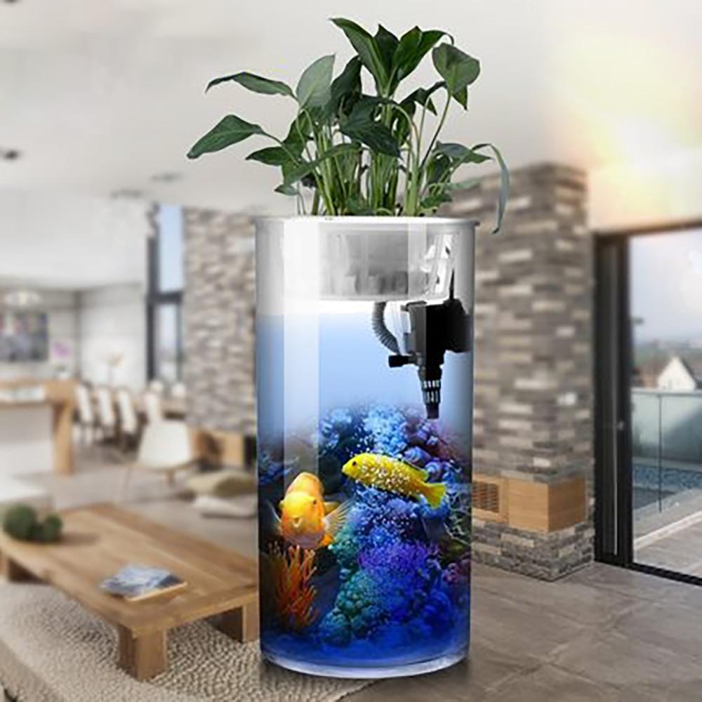 Aquarium cylindrique Aquarium petit et moyen filtre sans eau cylindre écologique verre Transparent HD cylindre de bureau