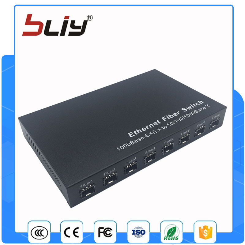 8G2E  sfp media converter 8 sfp port gigabit ethernet switch with 2 rj45 ports partaker r7 firewall networking appliance celeron 1037u 2gb ram 8gb ssd with 8 intel 82583v gigabit ethernet ports 2 sfp ros
