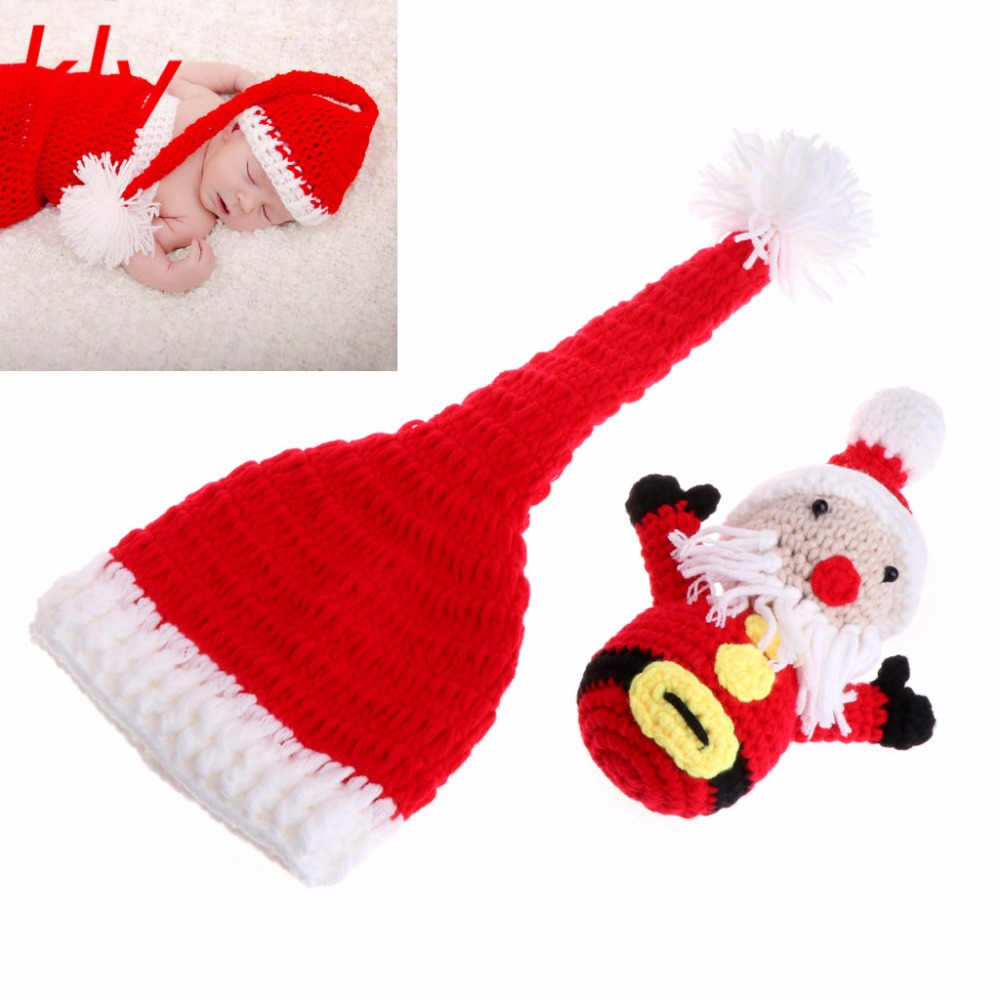 Accessories Hats & Caps Christmas Long Sleeved Jumpsuit And Santa Hat Set Knitted Crochet Mohair Baby Girl Romper And Bonnet Set Photography Props Pure White And Translucent