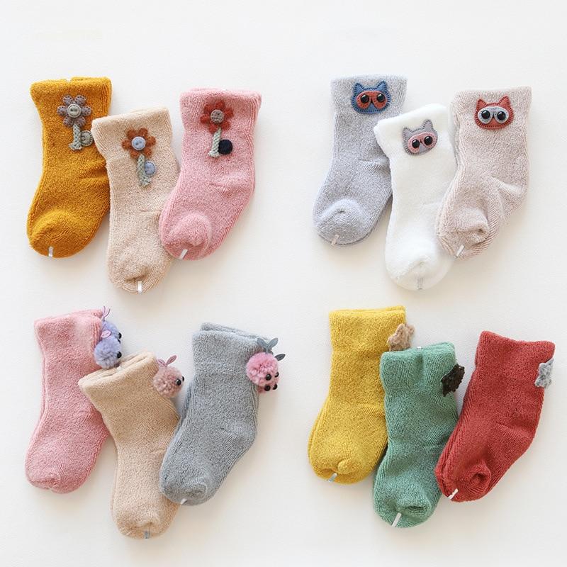 3Pcs New Cute Cartoon Baby Socks Spring Autumn Terry Socks Warm Toddler Boy/girls Floor Socks Sweat Clothing Accessories 0-36m