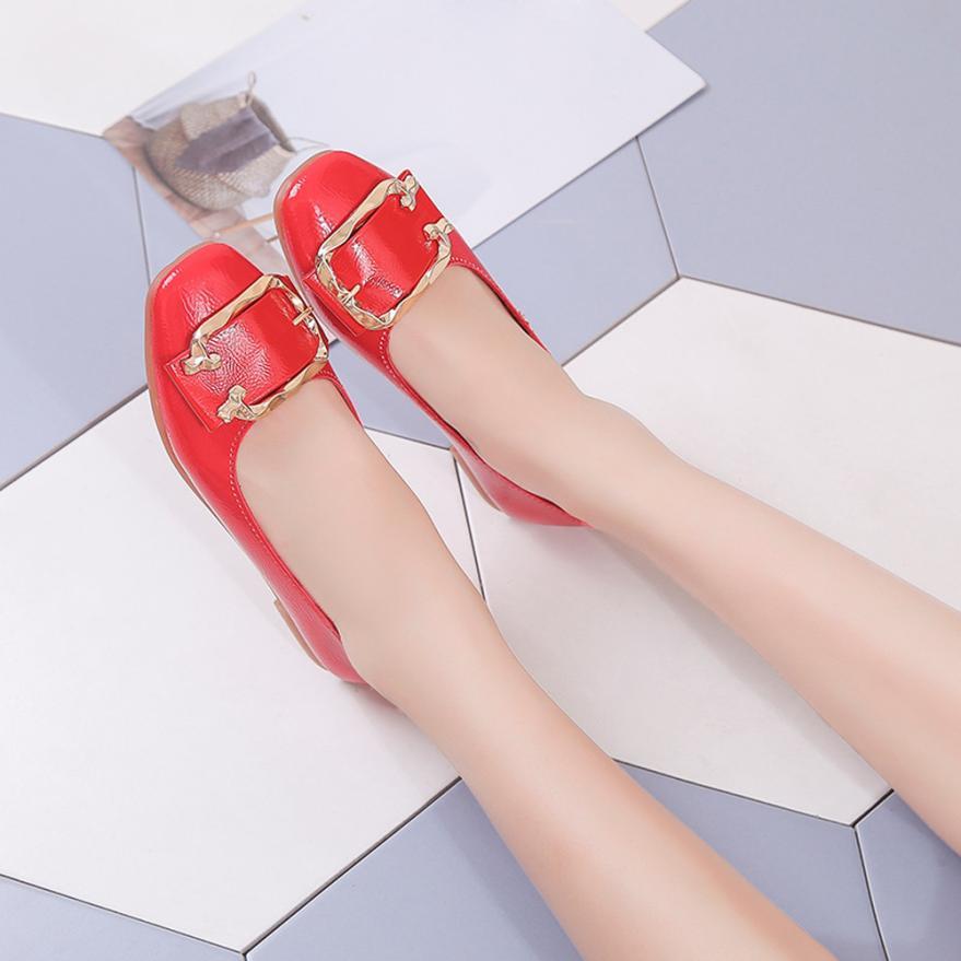 Boucle De Faible Mode Simples d A Talon Femelle Femmes 2018 Peu Profonde b On c Haute Plat Slip Cheville Orteil Qualité Chaussures Carré pzZqUz