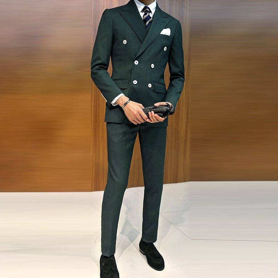 Vert foncé costume d'affaires marié Tuxedos Slim Fit pour hommes costume de mariage 3 pièces (veste + gilet + pantalon) Blazer hommes costume Double boutonnage-in Costumes from Vêtements homme    1