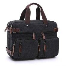 Mens Canvas vintage Casual Briefcase man Business Shoulder Messenger Bag men Laptop Handbag male Messenger Crossbody Bags