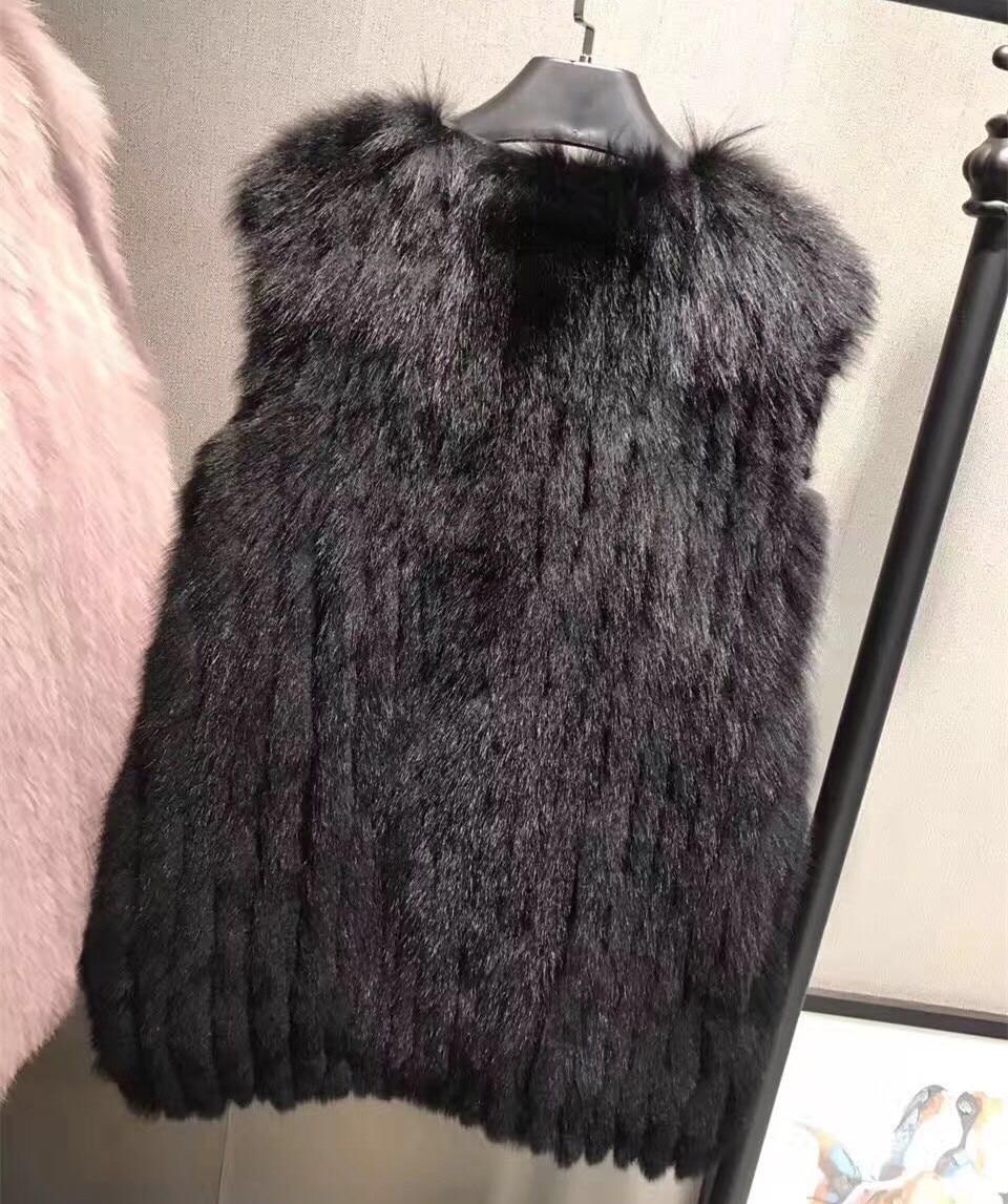 Gilet Tricoté Fourrure Clair Réel Mode noir blanc Manteau Véritable De Veste Femmes camel Manches Renard Sans rose Gris D'hiver Iw11Rq