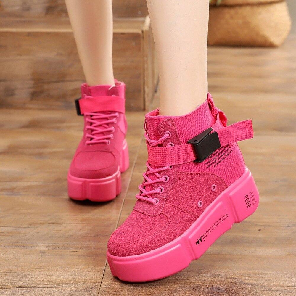 Rouge Sneakers 01 Occasionnel 02 Femme Étudiant 03 Jaune Caché Automne Wedge Plate forme Boucle 2018 Mode Femelle 8 Chaussures Sneaker De Cm RqZwqF0nEH