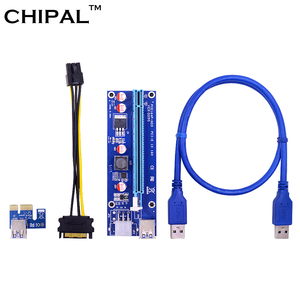 Image 1 - CHIPAL 10PCS VER009S PCI E Riser Card PCIE 1X to 16X Extender with LED Indicator + 0.6M USB 3.0 Cable / 6Pin Power Cord