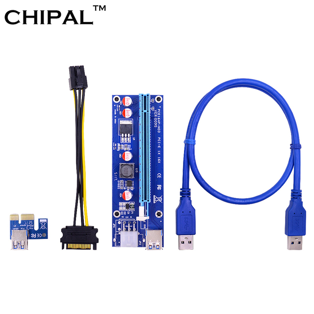 CHIPAL 10PCS VER009S PCI E Riser Card PCIE 1X to 16X Extender with LED Indicator + 0.6M USB 3.0 Cable / 6Pin Power Cord