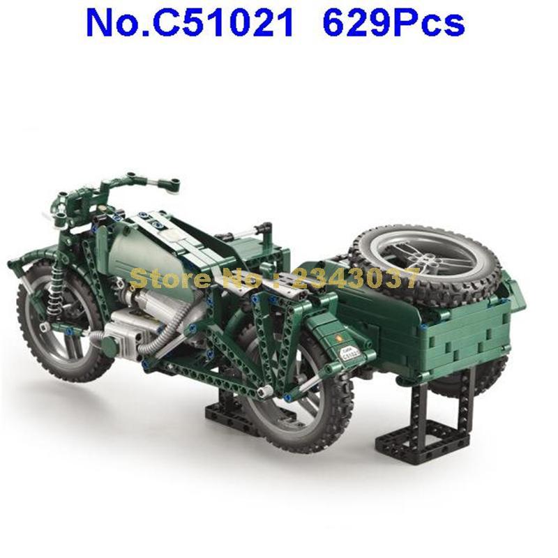 C51021 629pcs world war ii รถจักรยานยนต์ technic รีโมทคอนโทรล rc motor building block ของเล่น-ใน บล็อก จาก ของเล่นและงานอดิเรก บน   3