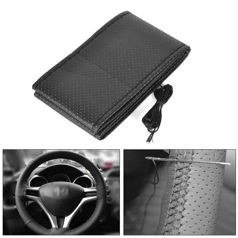 Universal 38cm Anti slip PU Leather Black DIY Braided Car Steering Wheel Cover With Needles and