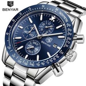 BENYAR Fashion Brands Chronograph Waches Men Quartz Black Sport Watch Waterproof Luxury Business montre homme saat erkekler 2019(China)