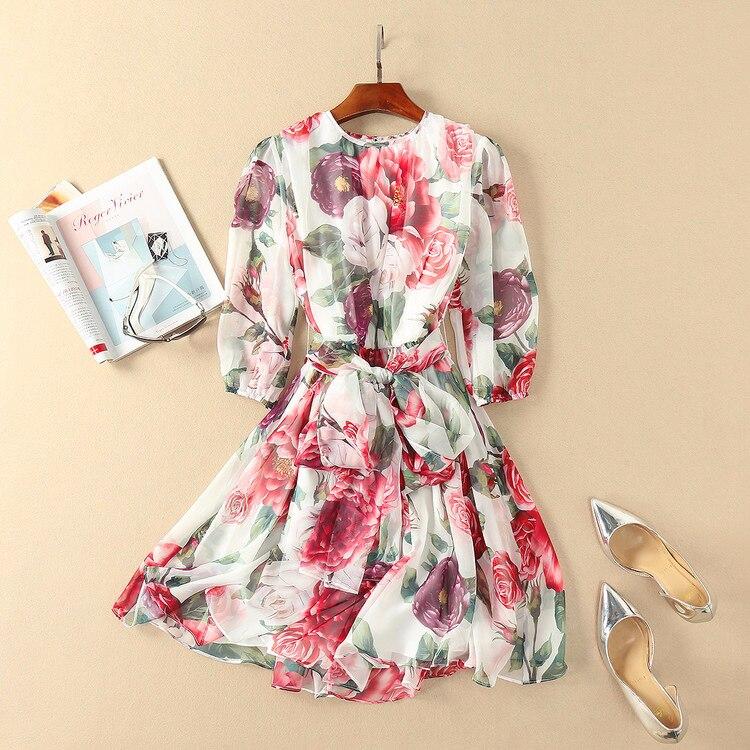 Здесь продается  New arrival 2018 spring summer fashion women girls elegant rose patterns print chiffon dress bow tie cute brand mini dresses  Одежда и аксессуары