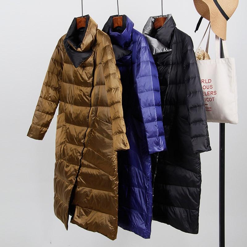 Ly Varey Lin 90% White Duck   Down   Ultra Light Jacket Women Winter Warm Double Sided Slim Single Breasted   Down     Coat   Long Parkas