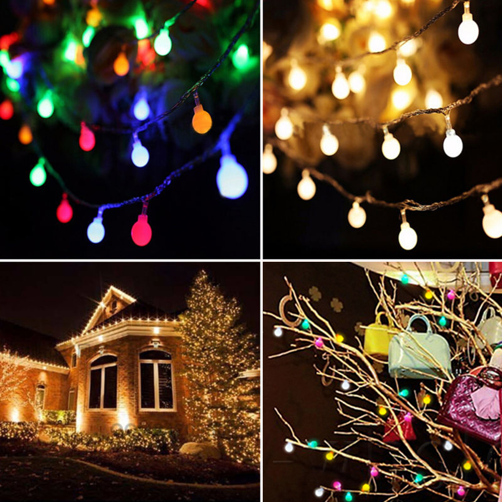 TSLEEN Outdoor Garden Fence Decorations Ball String Lights 50 Leds Solar Powered Low Power Consumption Christmas New Year Decors 6 leds fence lamp