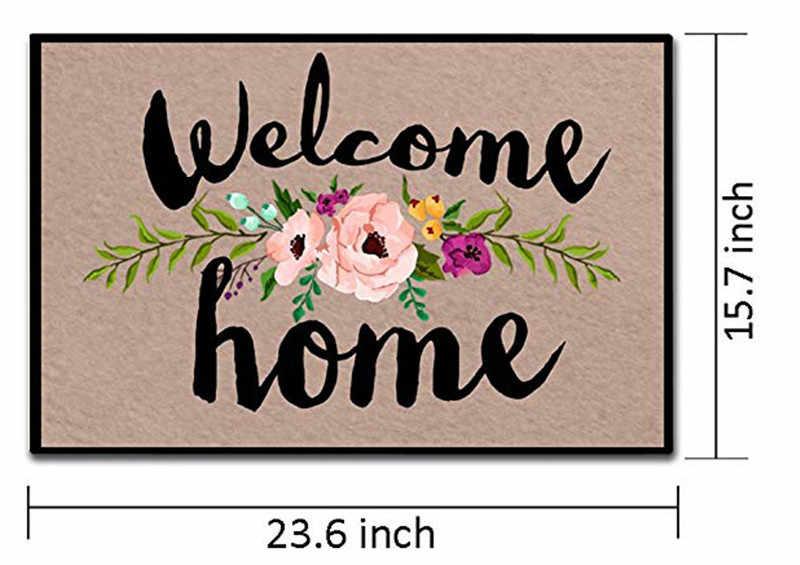 Офисный декоративный Придверный коврик, входной коврик, забавный, для помещений, для улицы, напольный коврик, добро пожаловать, домашний, Цветочный, дверной коврик, моющийся, нескользящий, дверной коврик
