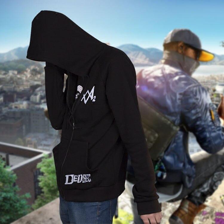 Costumebuy Watch Dogs 2 Cosplay Dedsec Shawn Baichoo Sweatshirts Men's Hoodie Coat Tops Long Sleeve Black Jacket Sweater Costume