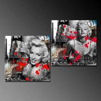 Hd Printed Marilyn Monroe 2pieces Group Painting Canvas Print Room Decor Print Poster Picture Canvas Free Shipping/H073 Movie