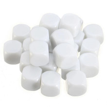25PCS 16mm Blank Dice White Acrylic Cube D6 Board Game, DIY, Fun and Teaching(China)
